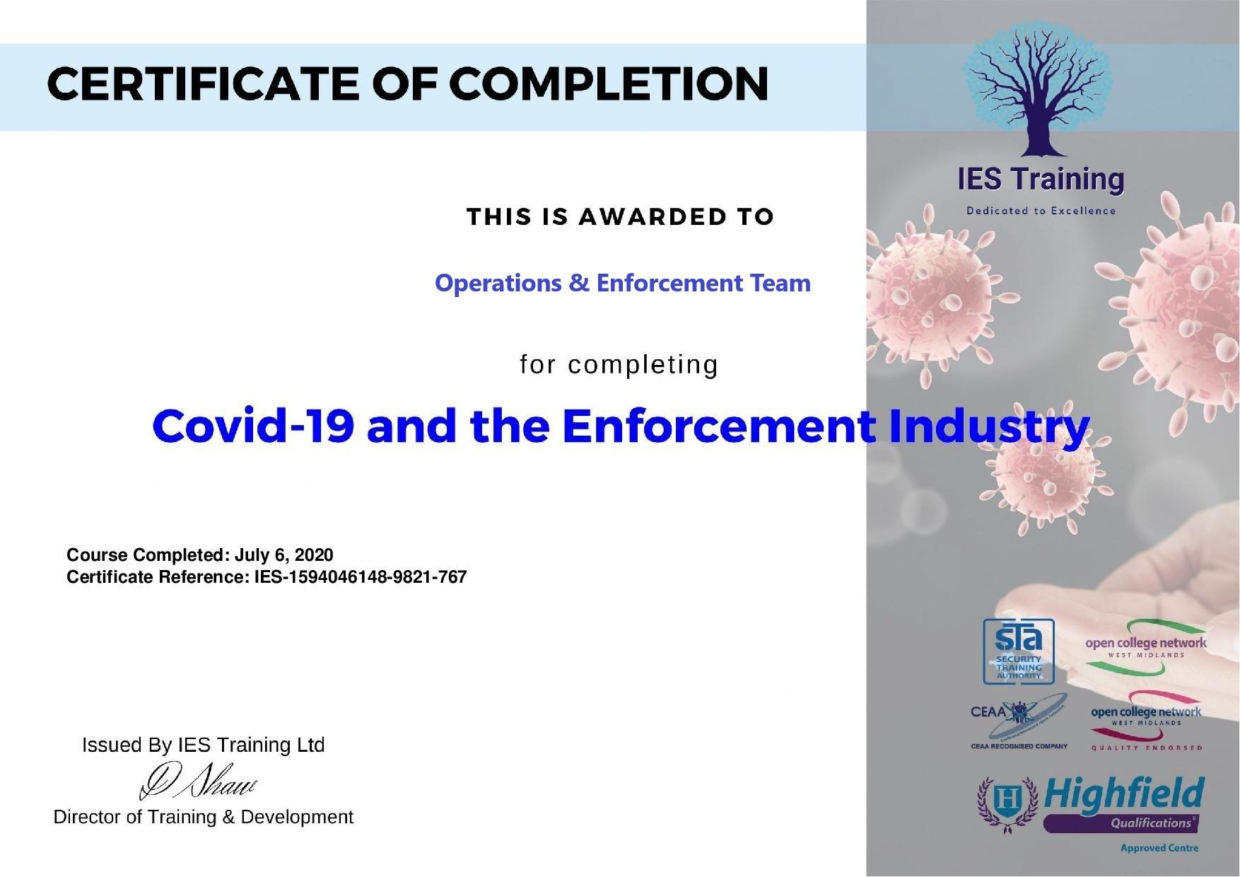 London team enforcement under covid 19